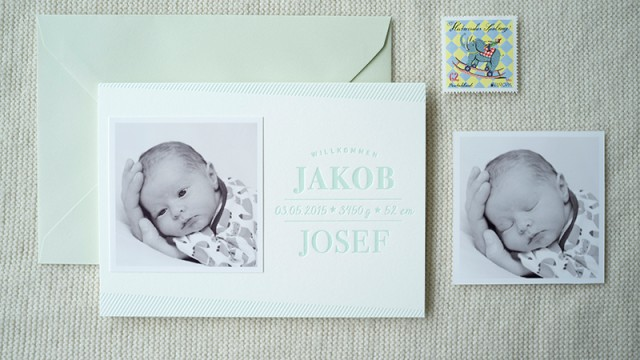 Letterpress Babykarte